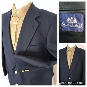 Stafford 48R Navy Blue Blazer with Gold Buttons